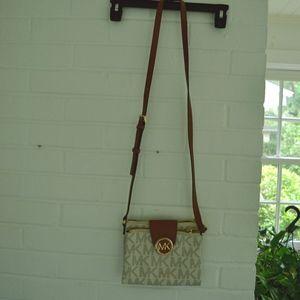 Brown and White Michael Kors Messenger Bag